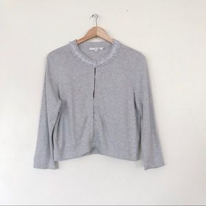 Boden Gray Sequin Cashmere Blend Cardigan 12R